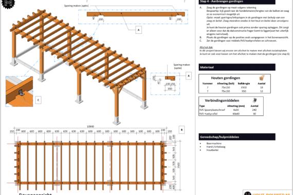 Blokhut met overkapping groot voorbeeld bouwtekening