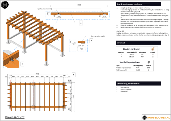 Blokhut met overkapping voorbeeld bouwtekening