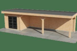 Blokhut met overkapping groot | Strak