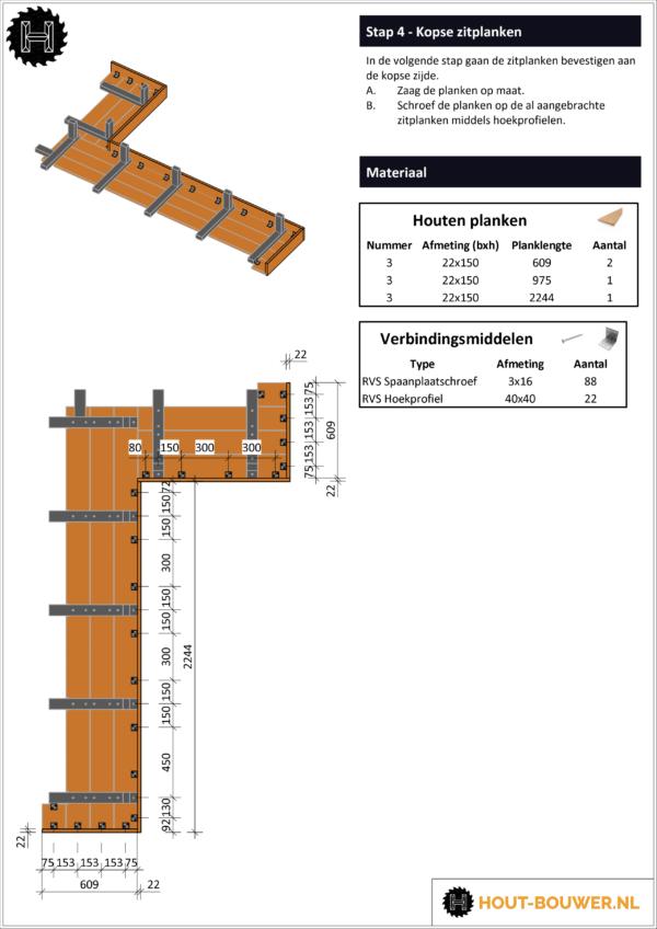 Loungebank Texas voorbeeld bouwtekening