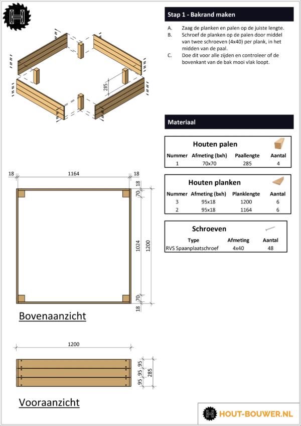 Vurenhout zandbak voorbeeld bouwtekening
