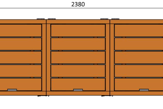 Container ombouw bovenaanzicht
