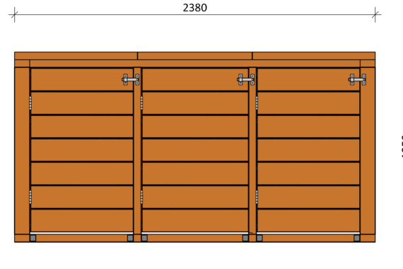 Container ombouw vooraanzicht