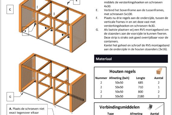 Container ombouw voor 3 kliko's voorbeeld tekening
