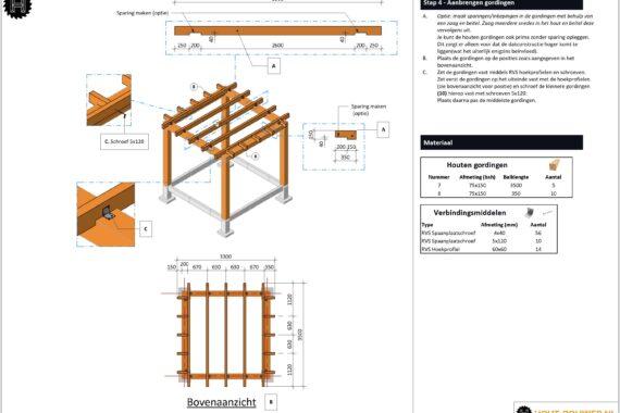 Blokhut met overkapping - voorbeeld bouwtekening