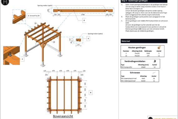 Hoek overkapping voorbeeld bouwtekening